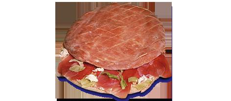pan de arabo relleno de jamón serrano