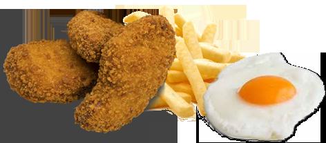 Platos combinados de pollo frito