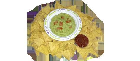 Comida mexicana. Nachos con guacamole