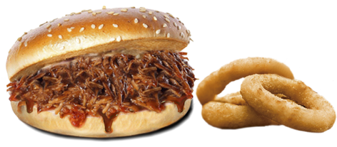 novedades, hamburguesa de asado cajún, pan de hamburguesa relleno con carne de asado cajún y acompañado de 3 aros de cebolla fritos