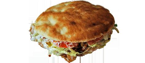 novedades, pan de Arabo de kebab,masa de pizza horneada al estilo arabe y rellena de carne de kebab,vegetales y sala de yogurt