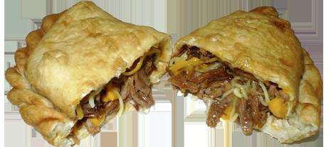 novedades, tejano de sado cajun,empanadilla grande rellena de carne asada estilo cajún